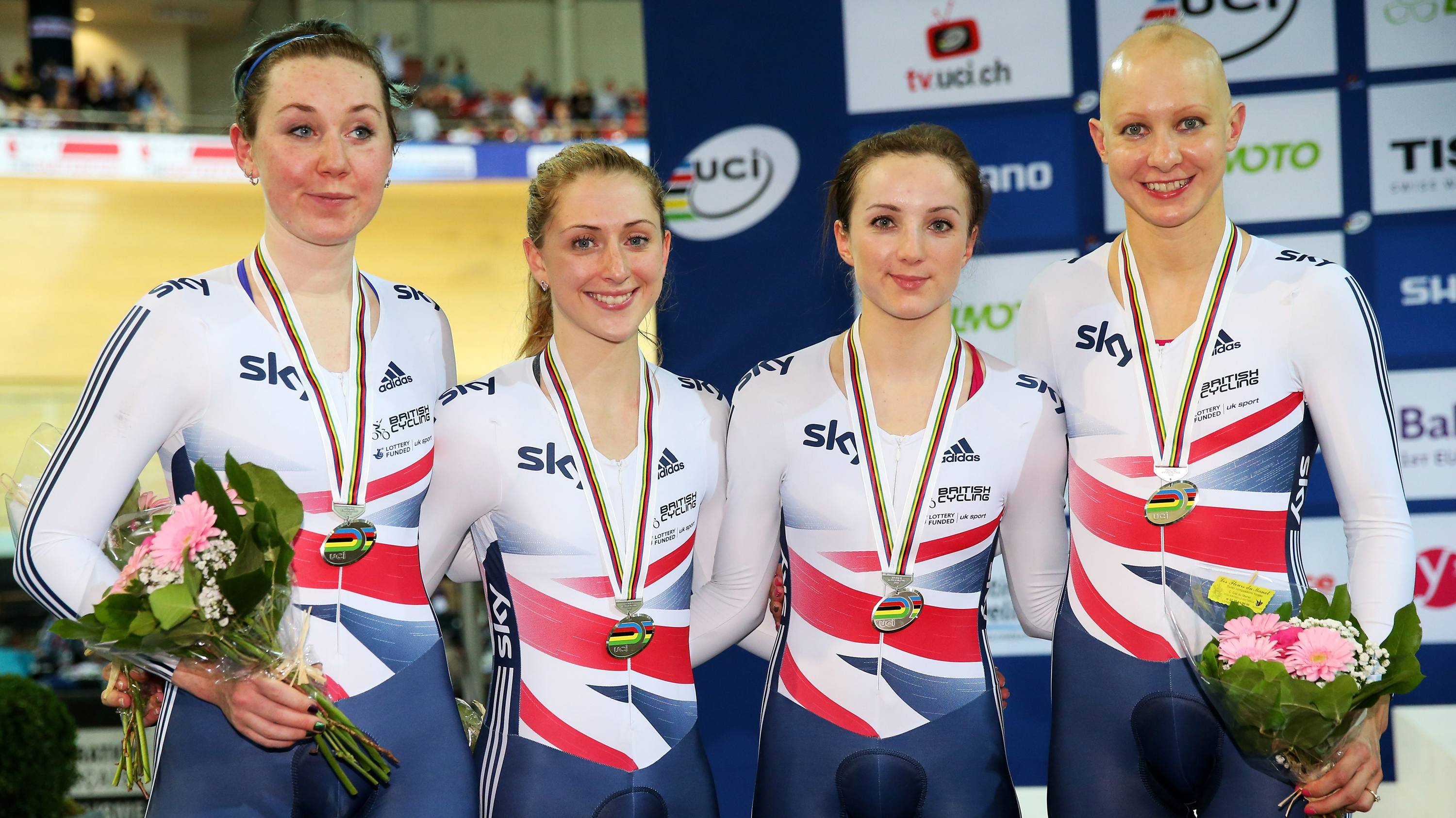 Katie Archibald, Laura Trott, Elinor Barker and Joanna Rowsell with their team pursuit silver medals at the 2015 UCI Track Cycling World Championships in Paris.