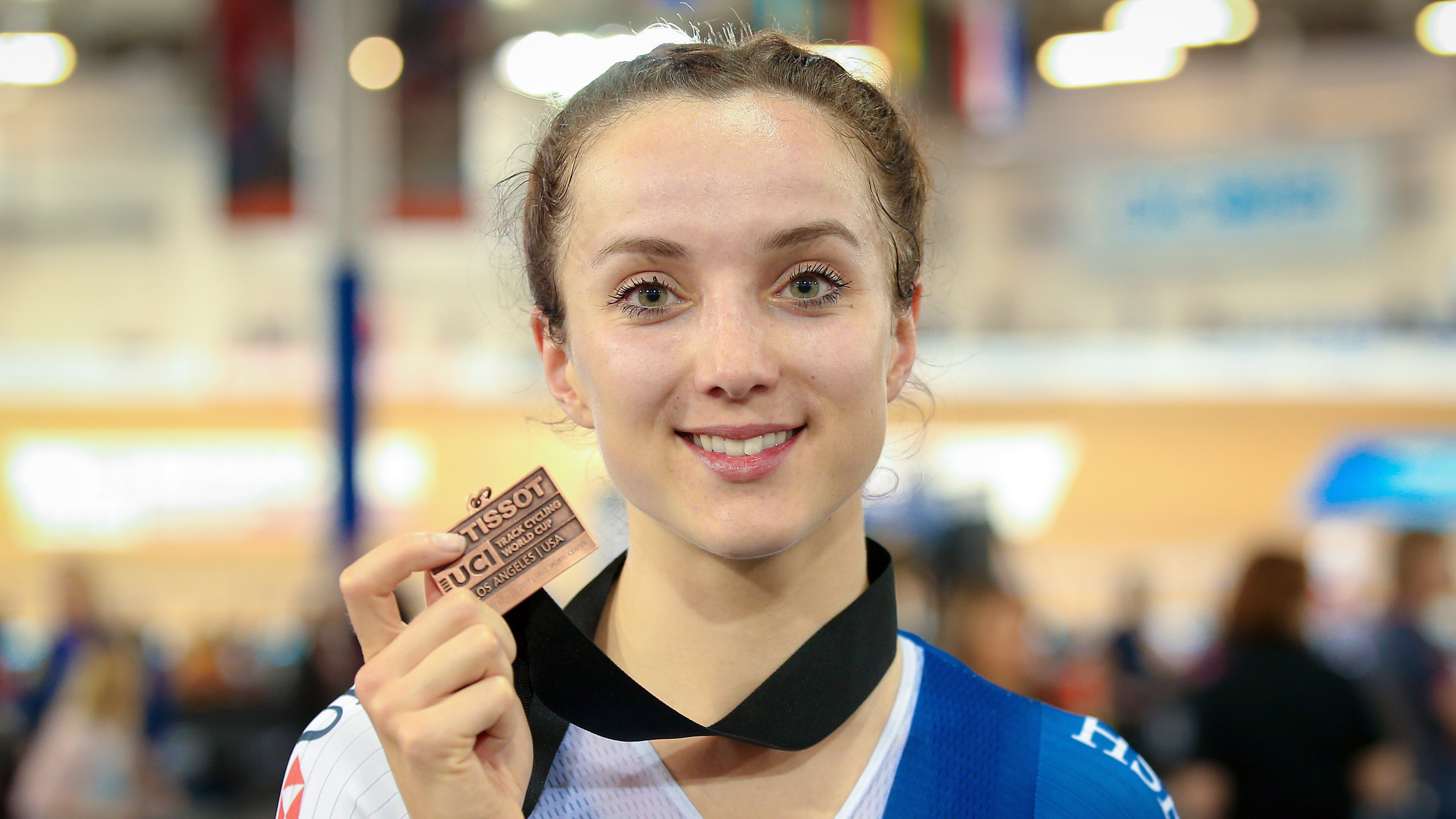 Elinor Barker takes her second world cup medal of the 2016/17 season
