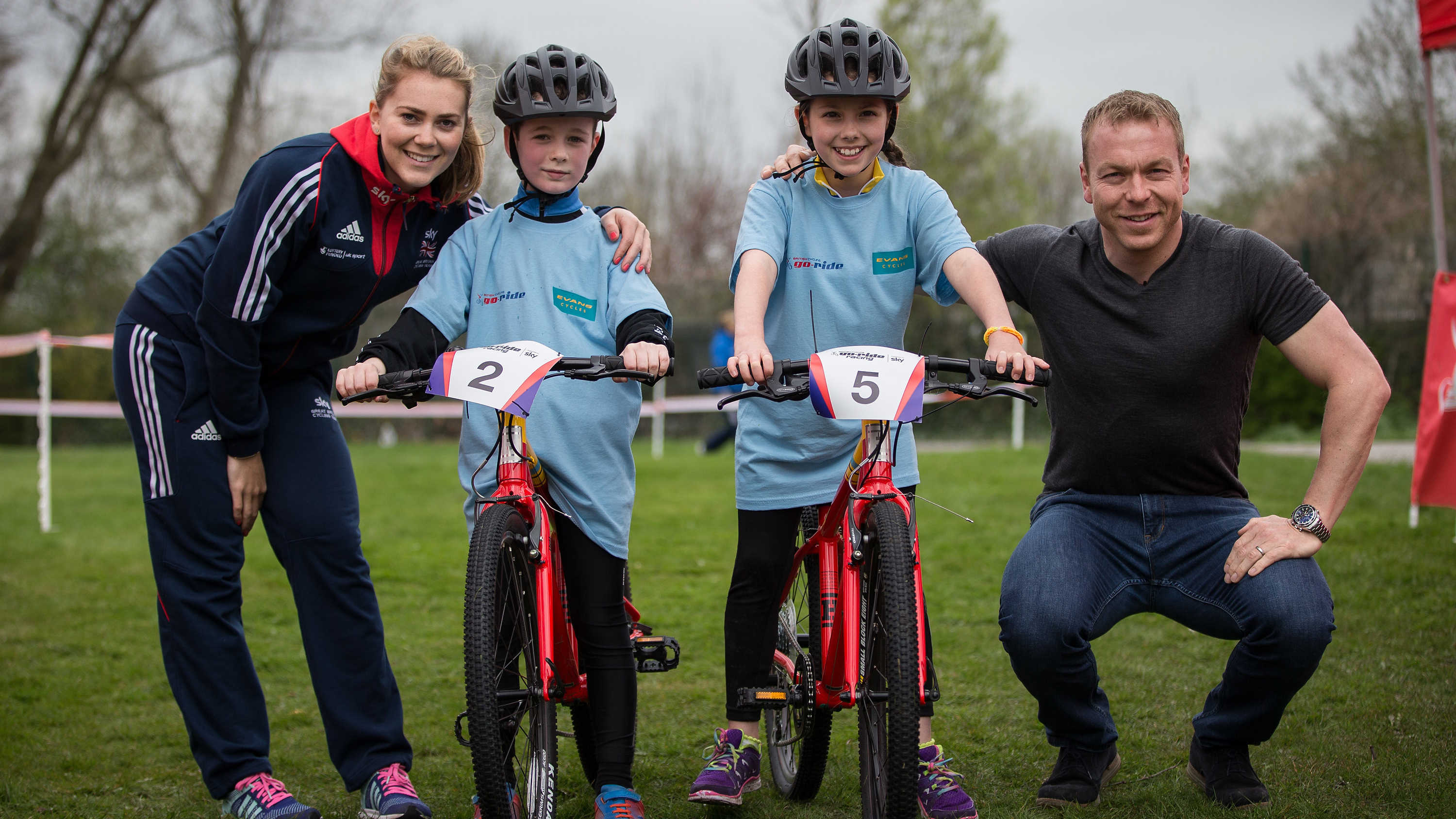 Hoy helping to launch a partnership between Evans Cycles and British Cycling's Go-Ride programme.