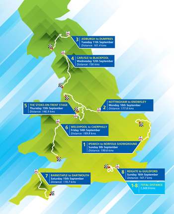The Tour of Britain 2012 Map