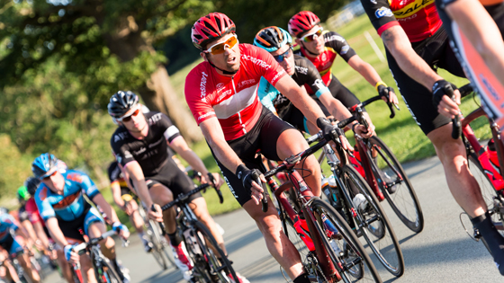 Team Raleigh's Yanto Barker leads the British Cycling Elite Road Series