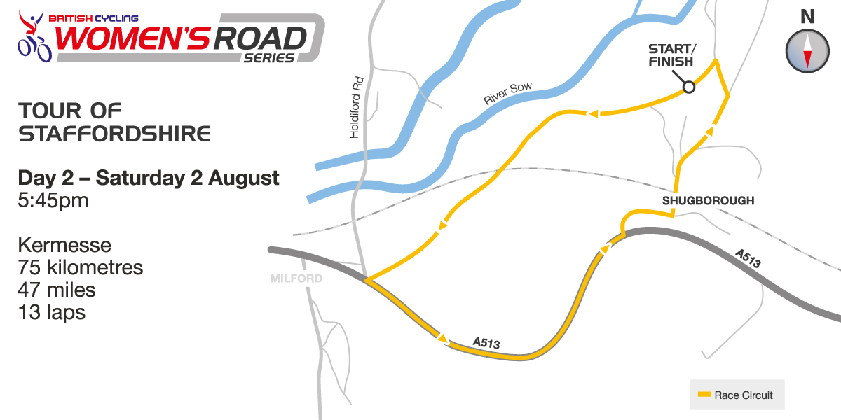British Cycling Women's Road Series - Stafford Kermesse - Course map - please click to enlarge
