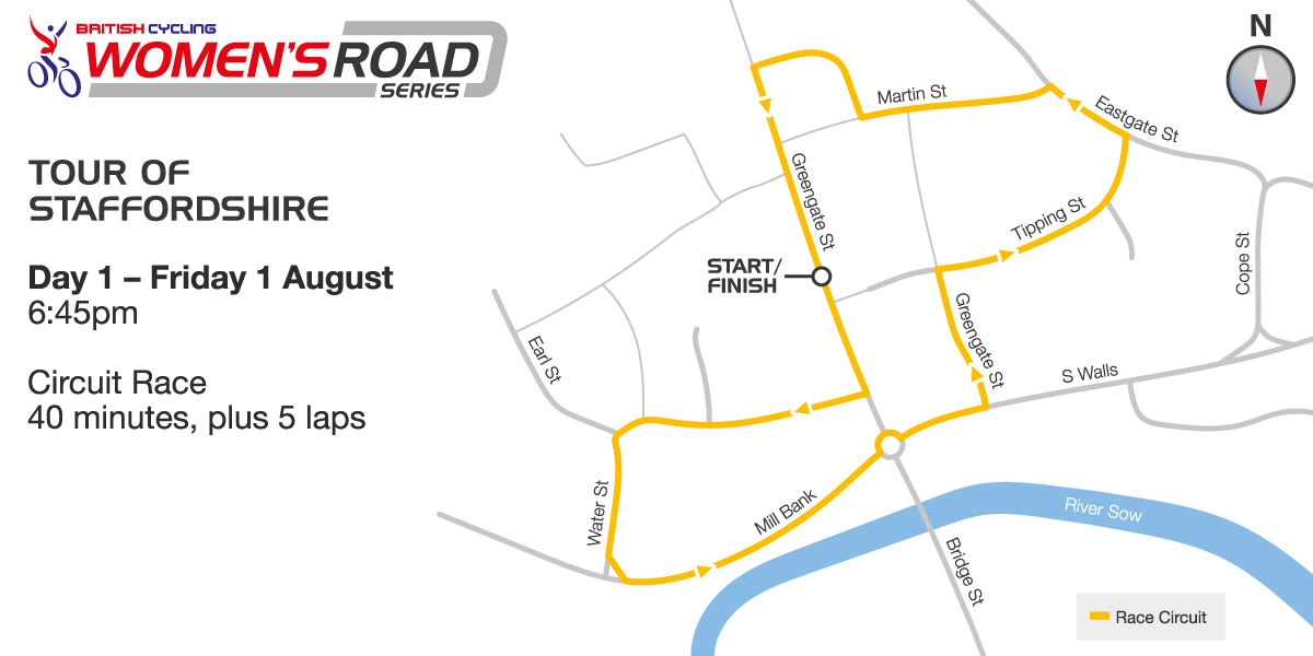 British Cycling Women's Road Series - Stafford GP - Course map - please click to enlarge