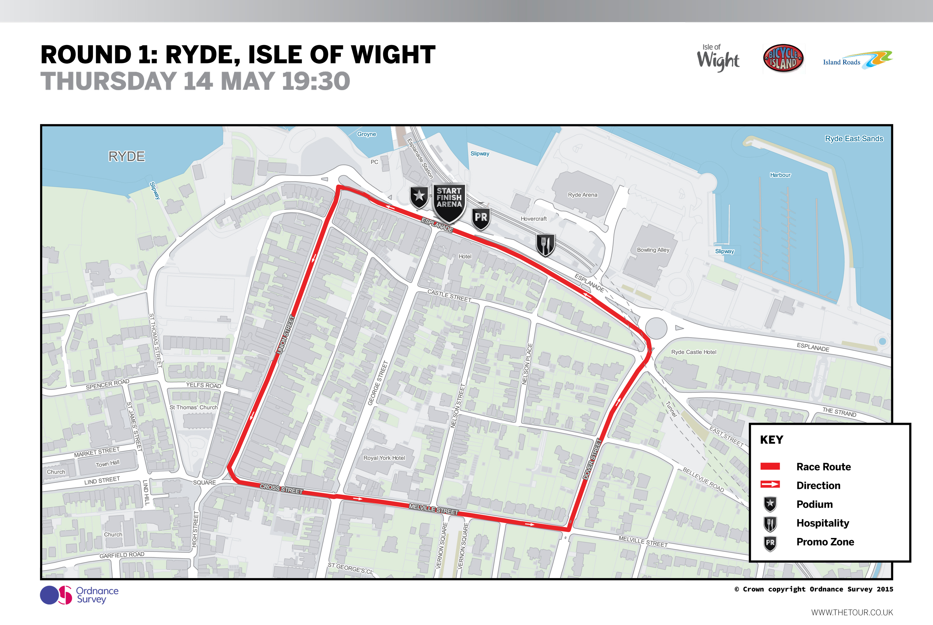 2015 Pearl Izumi Tour Series Round 1 - Ryde, Isle of Wight Map