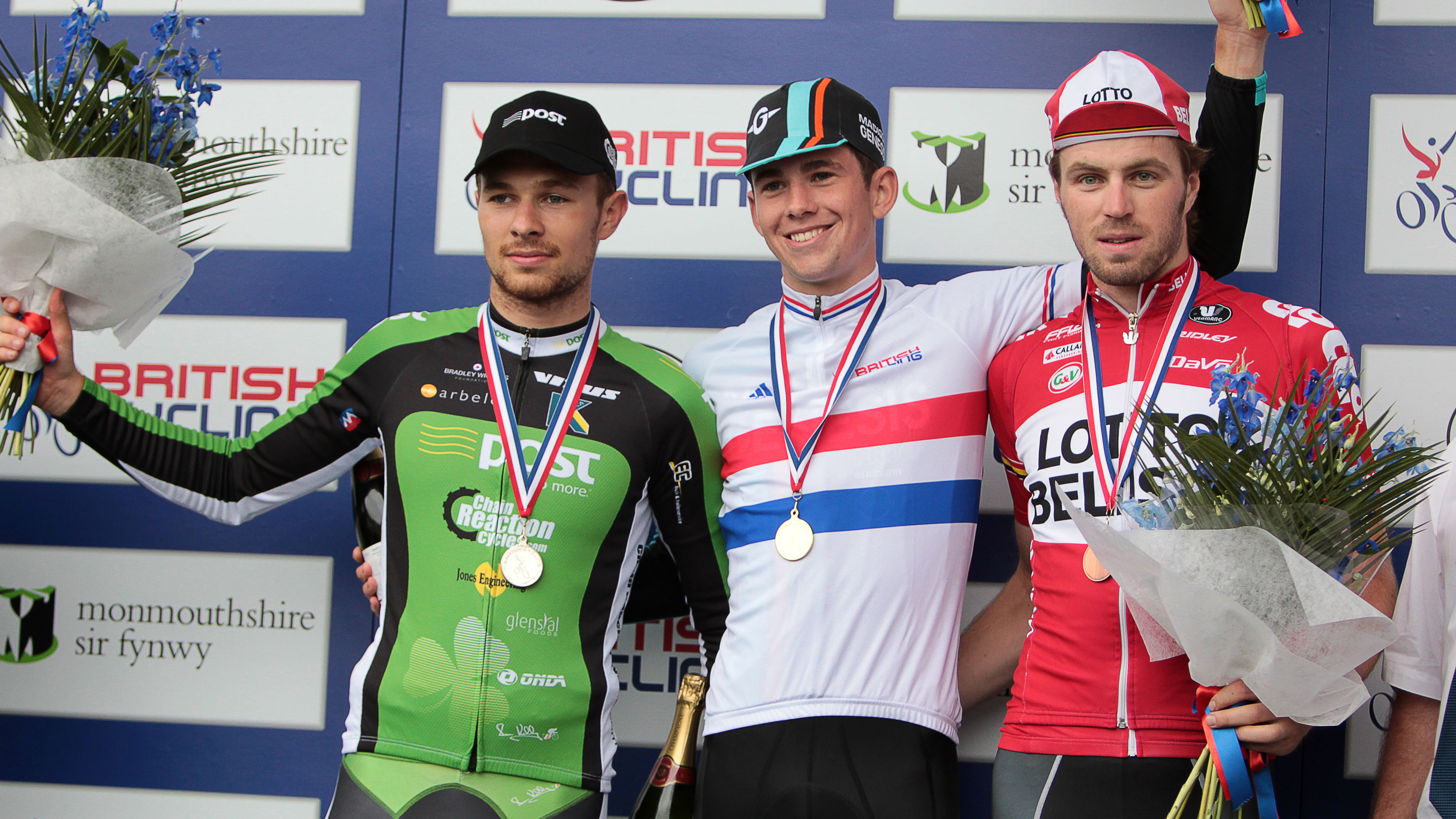 Left to right: Owain Doull, Scott Davies and Dan McLay on the under-23 time trial podium at the 2014 British Cycling National Road Championships.