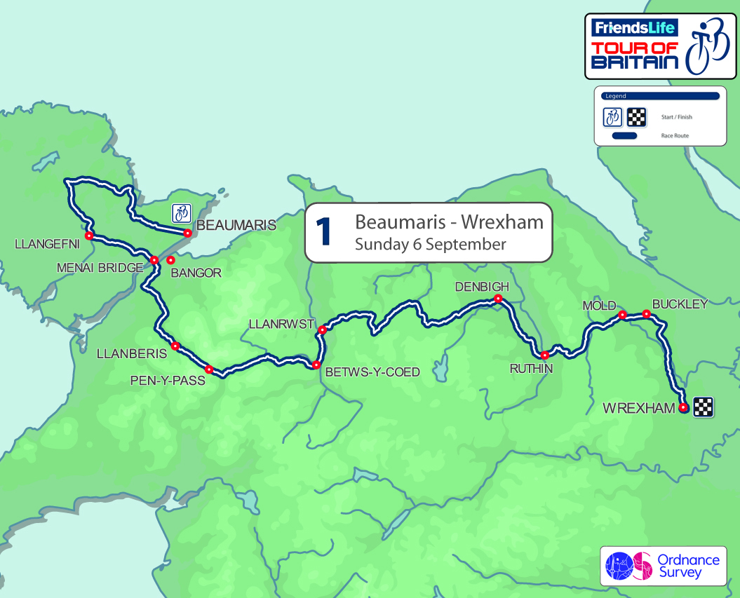 2015 Tour of Britain stage one - Beaumaris, Anglesey to Wrexham, 177km