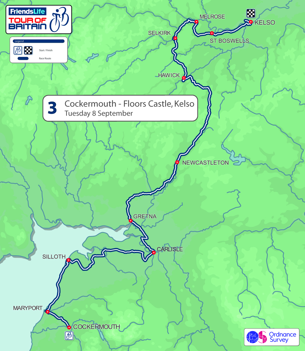 2015 Tour of Britain stage three - BCockermouth to Floors Castle, Kelso, 216km