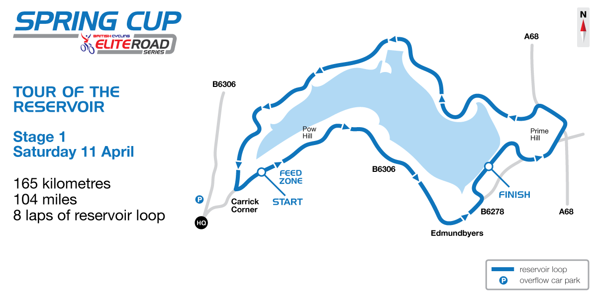 2015 British Cycling Elite Road Series - Tour of the Reservoir stage one map