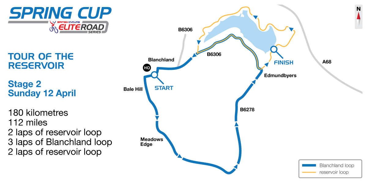 2015 British Cycling Elite Road Series - Tour of the Reservoir stage two map