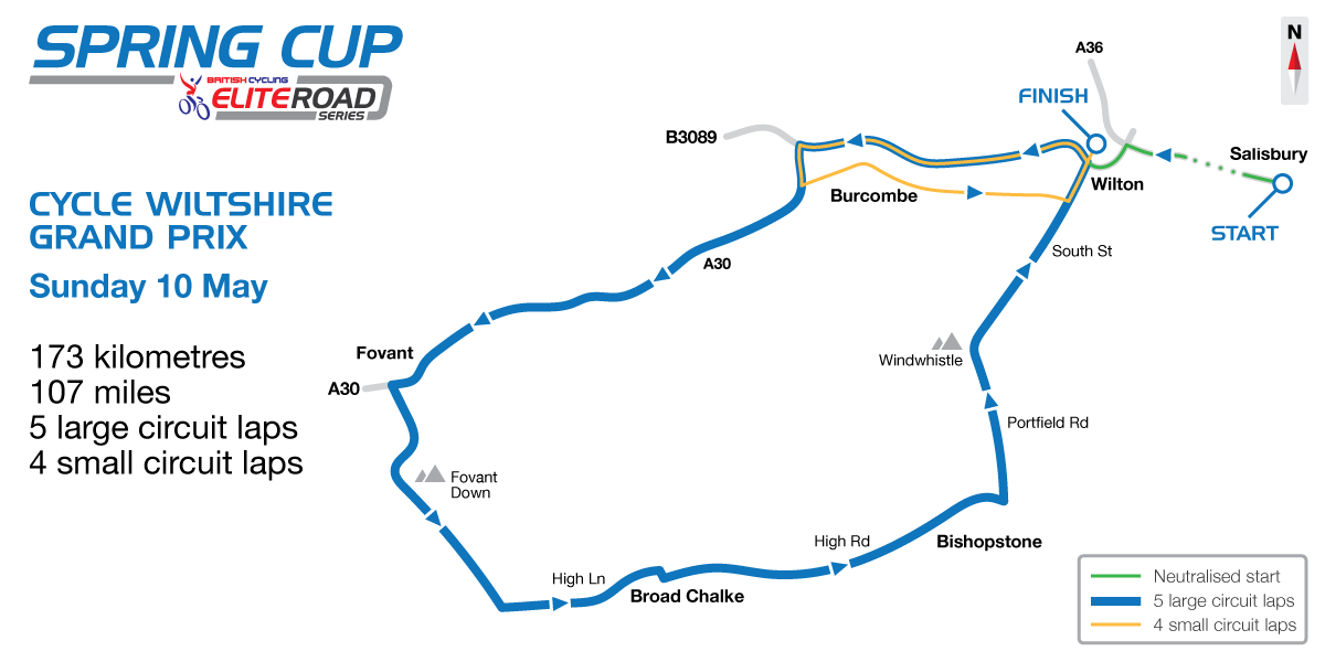 2015 British Cycling Elite Road Series - Cycle Wiltshire Grand Prix route map