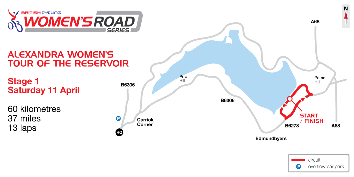 2015 British Cycling Women's Road Series - Tour of the Reservoir stage one map
