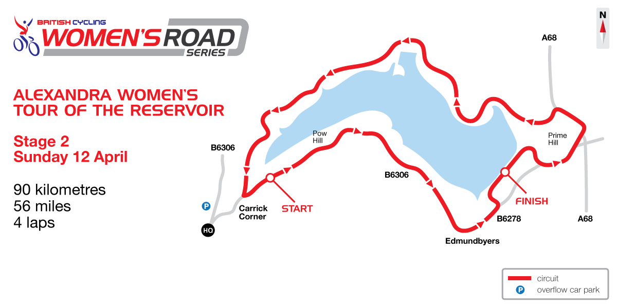 2015 British Cycling Women's Road Series - Tour of the Reservoir stage two map